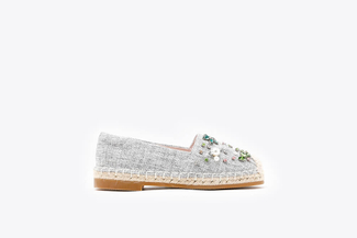 BB6338-1 Grey  Kids Crystal Embellished Espadrilles