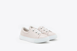 BB668-3 Pink Kids Button Down Leather Sneakers