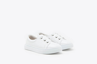 BB668-3 White Kids Button Down Leather Sneakers
