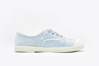 J1933-58 Powder Blue Pastel Sequin Embellished Sneakers