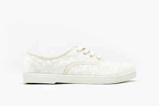 J1933-58 White Pastel Sequin Embellished Sneakers