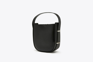 S2022 Black Bucket Leather Tote