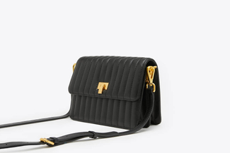 SB-D247 Black Quilted Effect Leather Crossbody Shoulder Bag