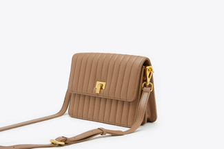SB-D247 Khaki Quilted Effect Leather Crossbody Shoulder Bag