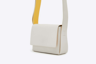 S1218 Grey Structured Crossbody Leather Shoulder Bag
