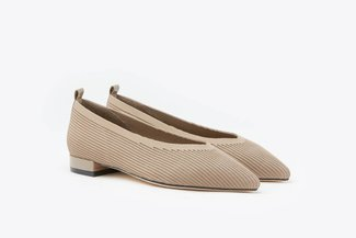 19A56-1 Almond Knit Effect Pointed Leather Pointy Flats