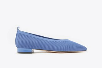 19A56-1 Blue Knit Effect Pointed Leather Pointy Flats