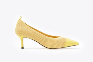 2099-10 Yellow Knit Effect Pointy Kitten Heels