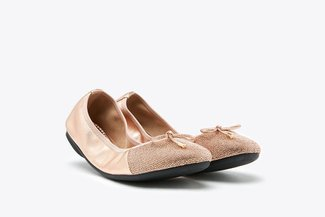 620-2A Champagne Pink Stardust Foldable Flats