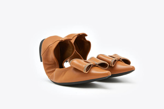 0039-2 Camel Embellished Bow Foldable Leather Flats