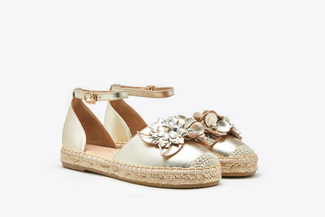 1582-25 Gold  Floral Crystal Toe Cap Leather Espadrille Sandals