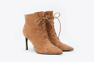 1932-801 Almond Lace Up Suede Zipper Ankle Leather Boots
