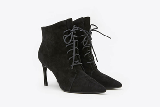 1932-801 Black Lace Up Suede Zipper Ankle Leather Boots