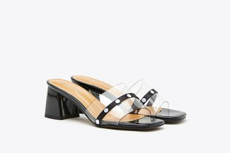 198-2 Black Polka Dot Mule Clear Block Leather Sandals