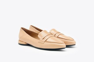 201-1A Almond Pointy Toe Leather Loafers