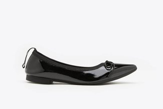 2882-1 Black Metallic Leather Pointy Flats