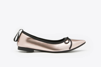 2882-1 Champagne Metallic Leather Pointy Flats