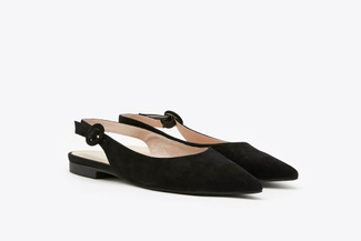 602-3 Black Pointy Toe Slingback Leather Flats