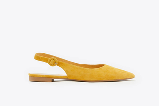602-3 Yellow Pointy Toe Slingback Leather Flats