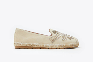 6338-2 Almond Diamante Embellished Leather Espadrilles