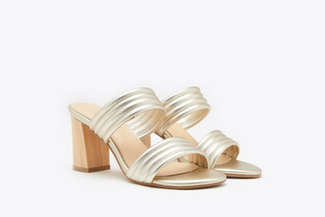 8411-22 Gold Metallic Leather Slide Sandal Heels