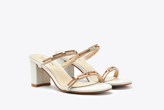8933-1 White Metallic Chain Embellished Leather Sandals