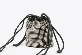 9406 Black Mini Diamante  Drawstring Bucket Bag