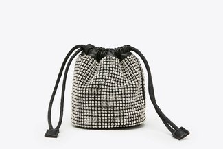 9406 Silver Mini Diamante  Drawstring Bucket Bag
