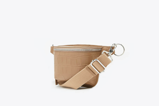 96607 Almond Textured Leather Waist Belt Bag