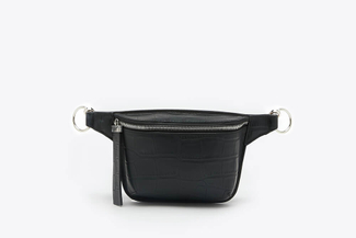 96607 Black Textured Leather Waist Belt Bag