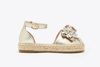 BB1582-25 Gold Kids Floral Crystal Toe Cap Leather Espadrille Sandals