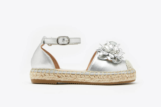 BB1582-25 Silver Kids Floral Crystal Toe Cap Leather Espadrille Sandals