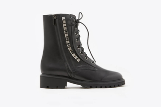 G18-6 Black Studded Zipper Lace Up Ankle Leather Boots