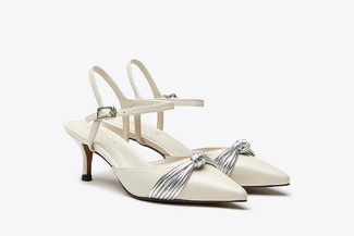 LT826-69 Beige Pointy Toe Ribbon Front Slingback Leather Heels