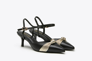 LT826-69 Black Pointy Toe Ribbon Front Slingback Leather Heels