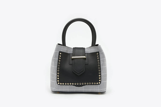 SB-D095 Black Tartan Checkered Boxy Top Handle Leather Bag
