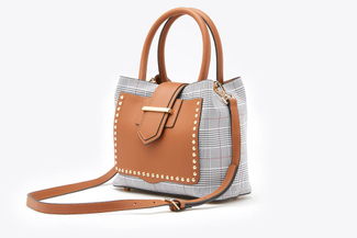 SB-D095 Brown Tartan Checkered Boxy Top Handle Leather Bag
