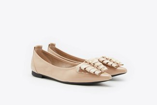 0039-5 Almond Multi-Ribboned Pointy Leather Ballet Flats