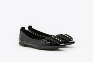 0039-5 Black Multi-Ribboned Pointy Leather Ballet Flats