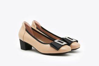 146-69 Almond Crystal Buckle Bow Leather Square Toe Block Heel