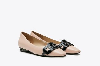 17206-102 Pink Tri-Chain Effect Leather Ballet Flats