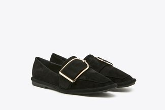 178-18 Black Suede Buckle Leather Loafers
