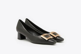 1902-3 Black Buckle Leather Square Toe Block Heel Pumps