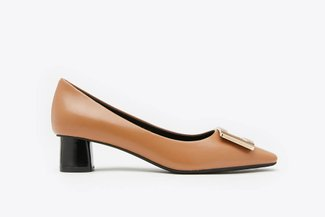 1902-3 Brown Buckle Leather Square Toe Block Heel Pumps