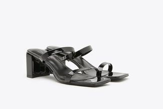 1933-1 Black Glossy Square Toe Slide Sandals