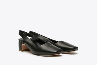 316-2 Black Square Toe Open Back Low Heel Leather Sandals