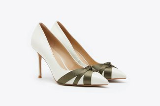 6008-8 Beige Gradient Knotted Leather Pointy High Heels