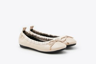 620-33 Apricot Fitted Ribbon Ballerina Leather Flats