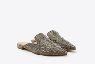 658-5 Grey Roll Crystal Embellished Pointy Toe Leather Mules