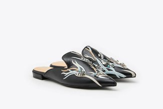 658-9 Black Crystal Embellished Embroidered Leather Pointy Toe Mules